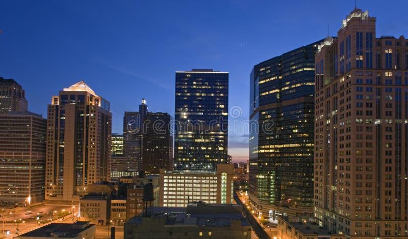 заход солнца chicago городской стоковое фото rf