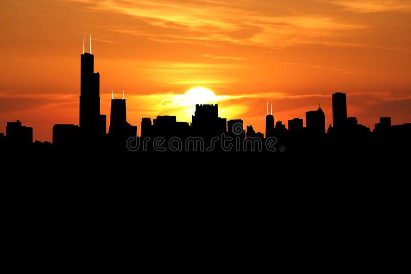 заход солнца chicago бесплатная иллюстрация