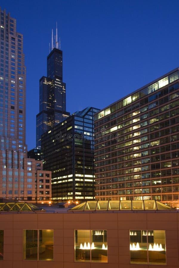 заход солнца chicago стоковые фото