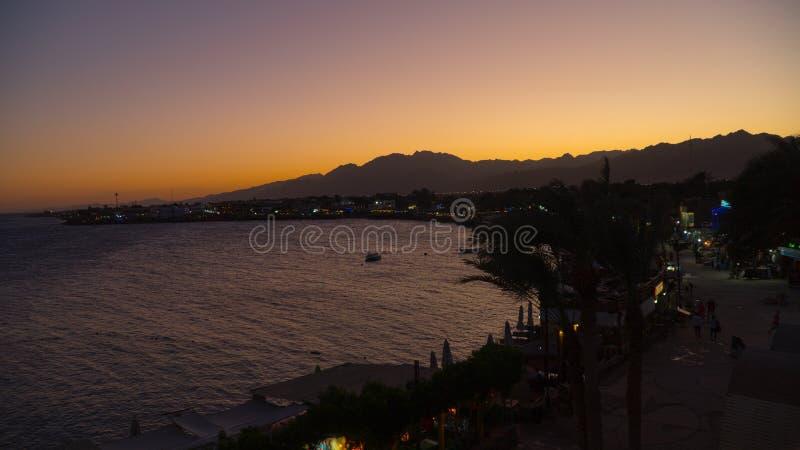 Заход солнца Dahab Красного Моря Египта стоковая фотография