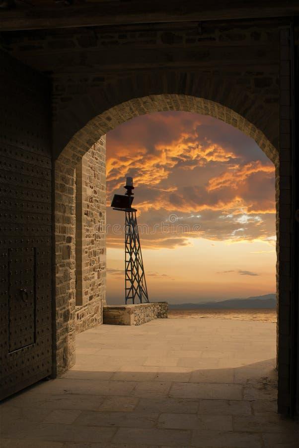 заход солнца firehouse стоковые изображения