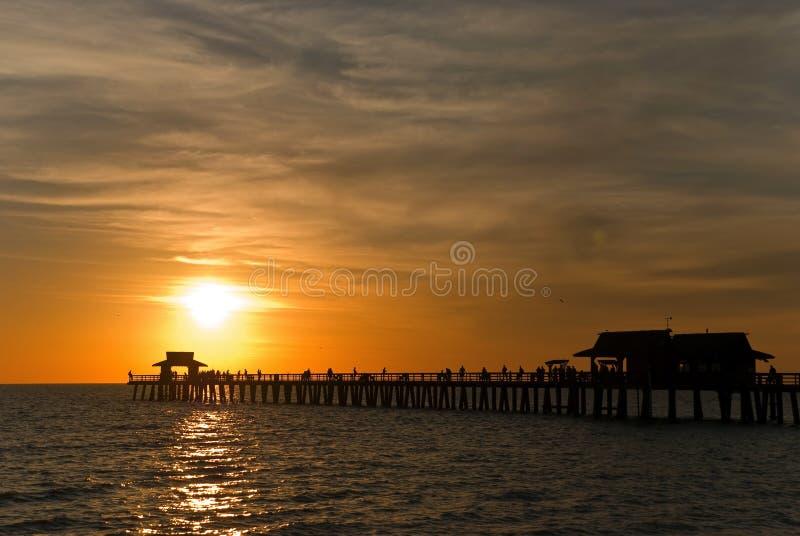заход солнца florida naples южный стоковое фото