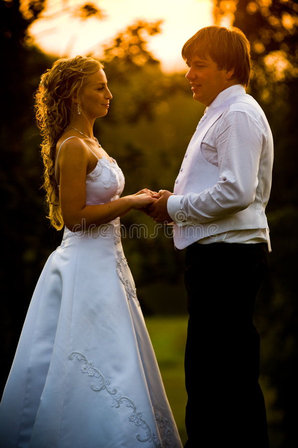 заход солнца groom невесты стоковое изображение