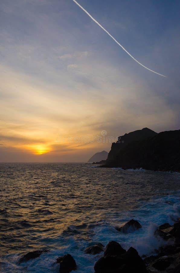 Заход солнца Hachijo стоковые изображения rf