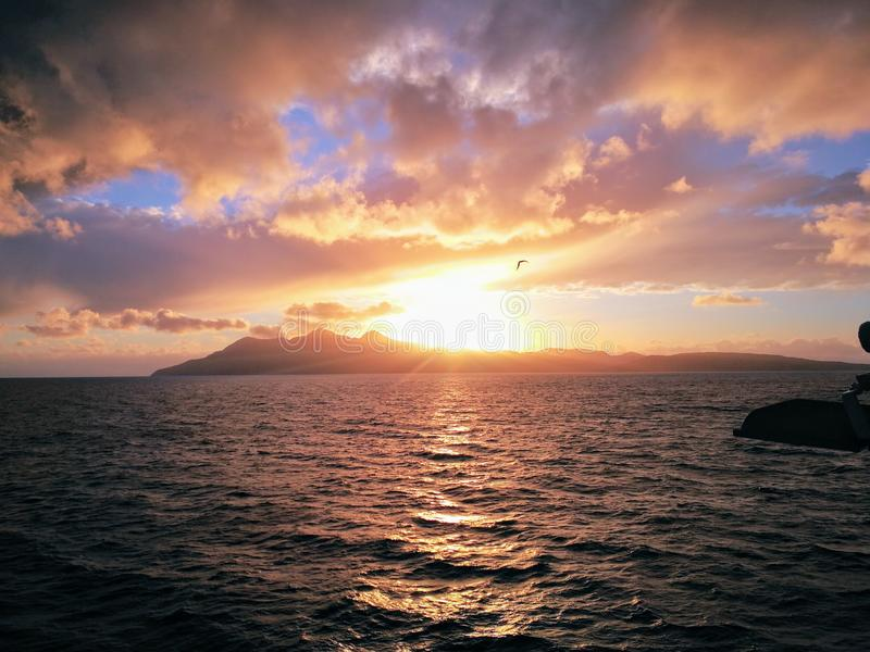 Заход солнца Hebrides стоковые фото
