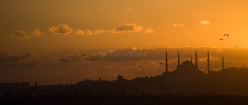 заход солнца istanbul стоковое изображение