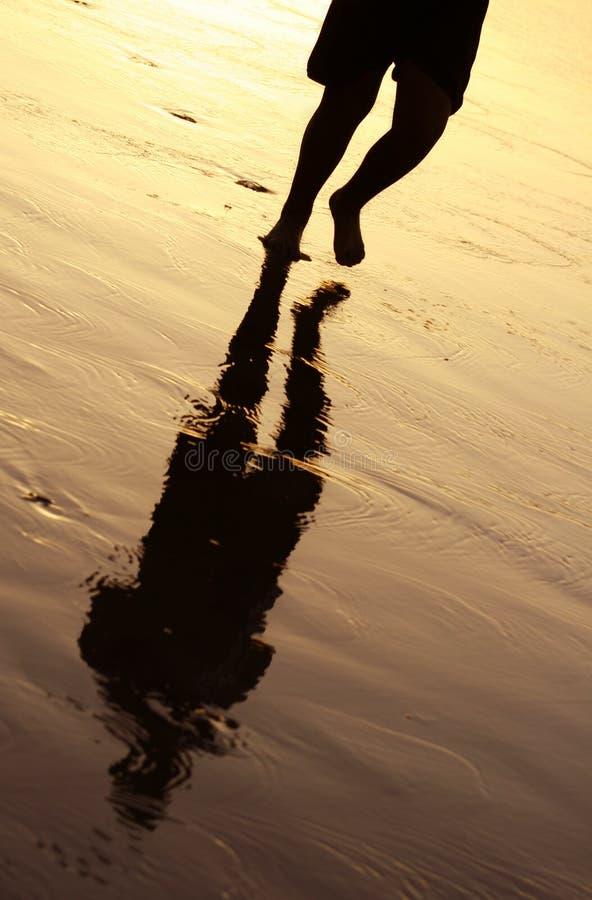 заход солнца jogger стоковая фотография rf