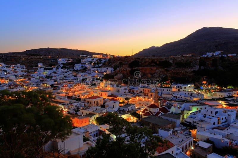 Заход солнца Lindos rhodes Греции стоковое фото