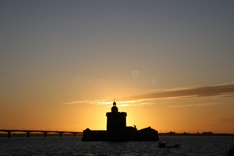 заход солнца louvois форта стоковые фотографии rf