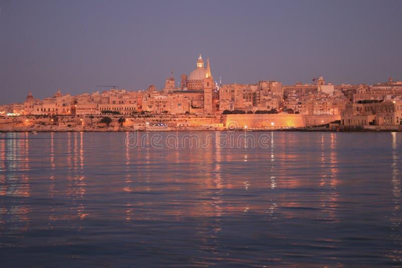 заход солнца malta стоковое изображение