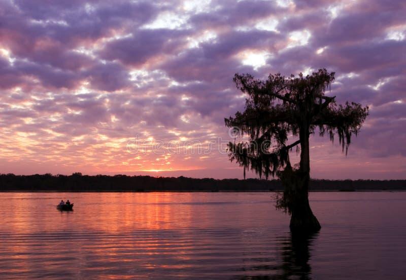 заход солнца martin озера стоковое изображение