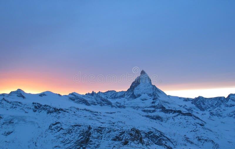 заход солнца matterhorn стоковое изображение