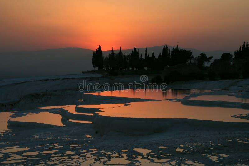 заход солнца pamukkale стоковые изображения