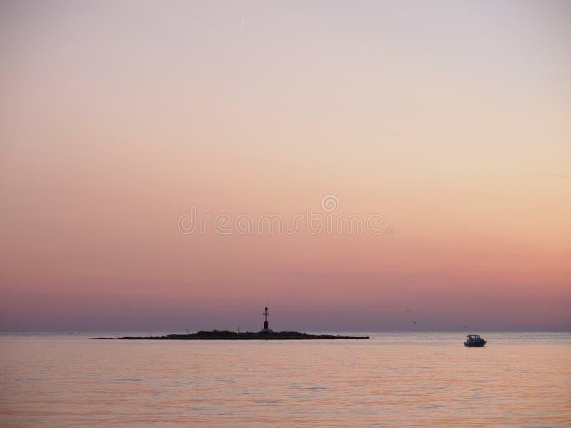 заход солнца porec Хорватии стоковые фотографии rf