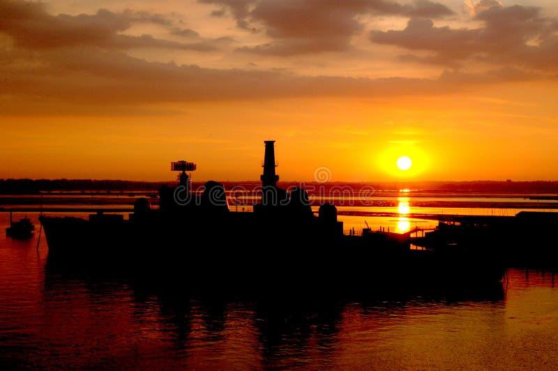 заход солнца portsmouth стоковое изображение rf