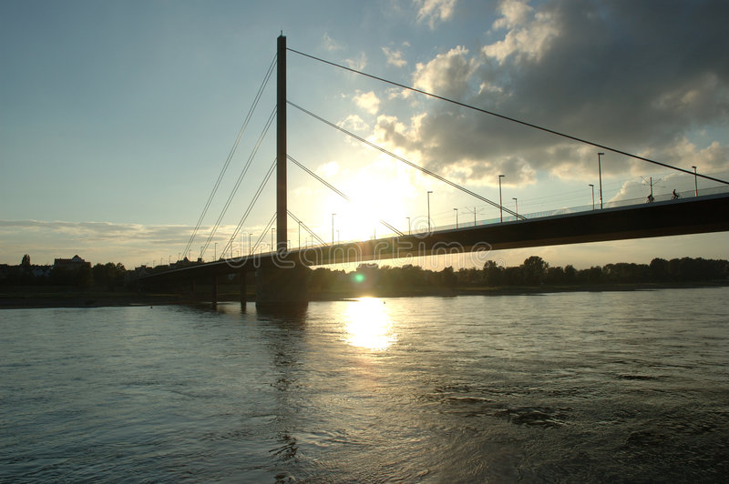 заход солнца Rhein Стоковое фото RF