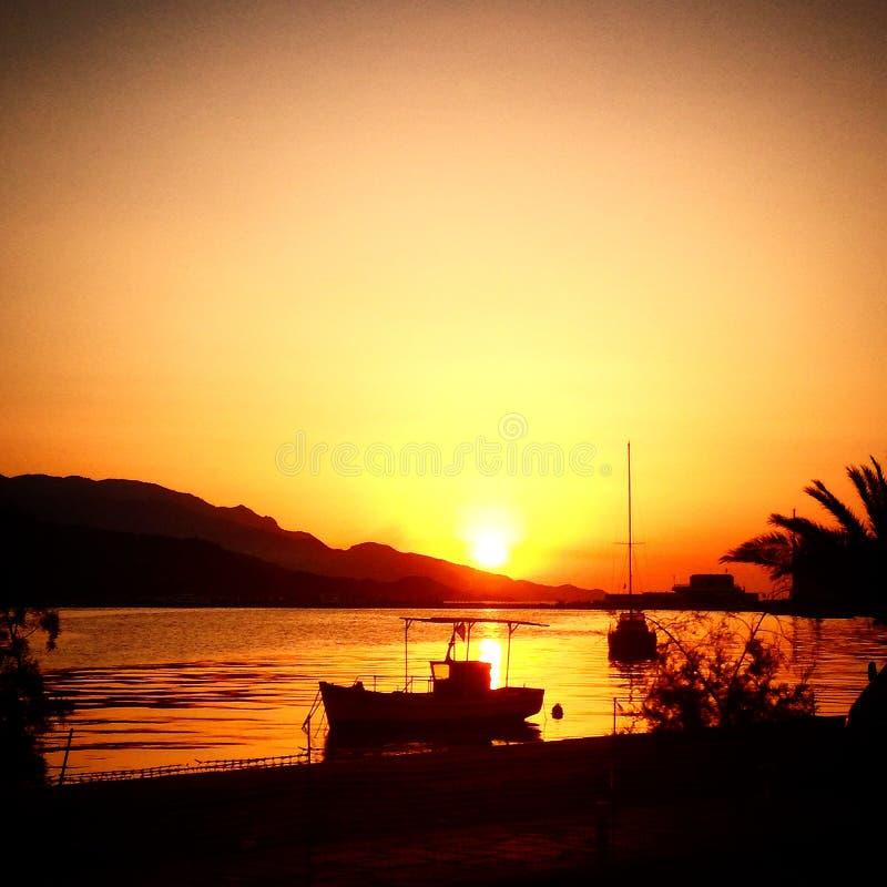 Заход солнца Samos стоковая фотография rf