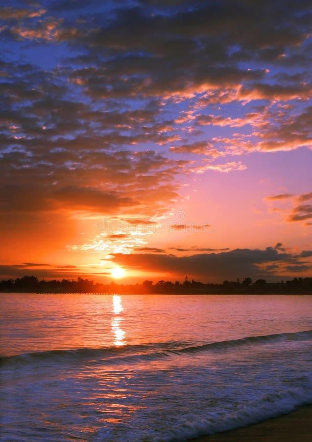 заход солнца santa cruz стоковые фотографии rf