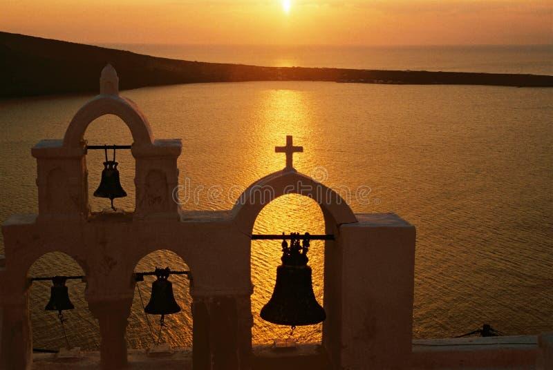 заход солнца santorini Греции стоковые фото