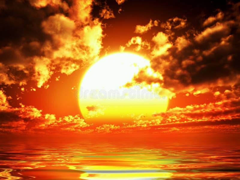 заход солнца vue стоковое изображение rf
