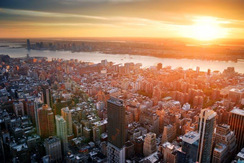 заход солнца york города новый стоковое фото rf