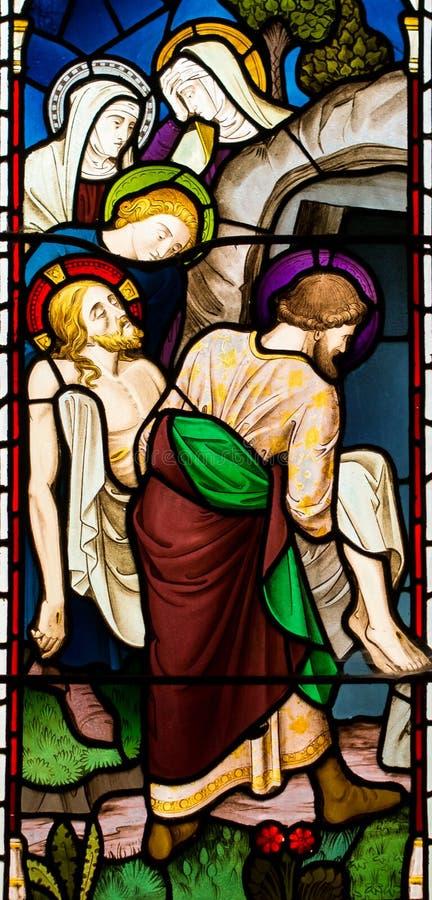 Захоронение витража Иисуса Христоса стоковое фото rf