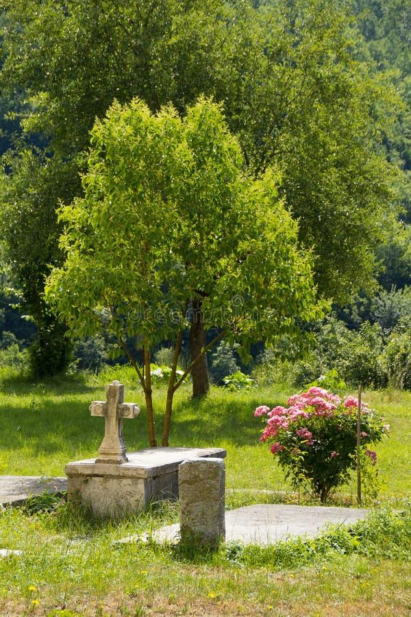 Захоронение в саде монастыря Moraca стоковое фото rf