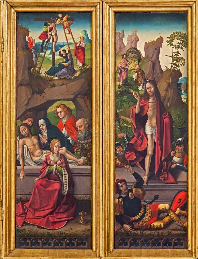 Захоронение и воскресение сцены Иисуса от готического высекаенного алтара в церков Teutonic заказа или Deutschordenkirche стоковая фотография rf