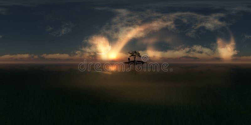 Захода солнца фантазии любовников панорама былинного сферически иллюстрация вектора