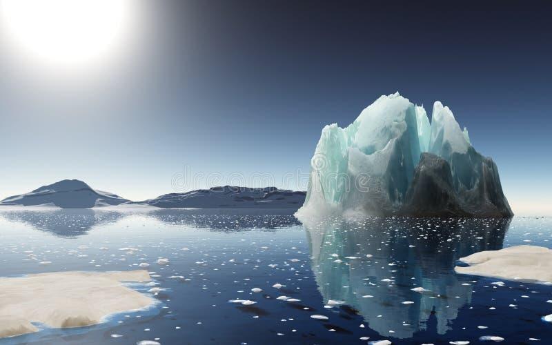 Заход солнца айсберга в Антарктике бесплатная иллюстрация