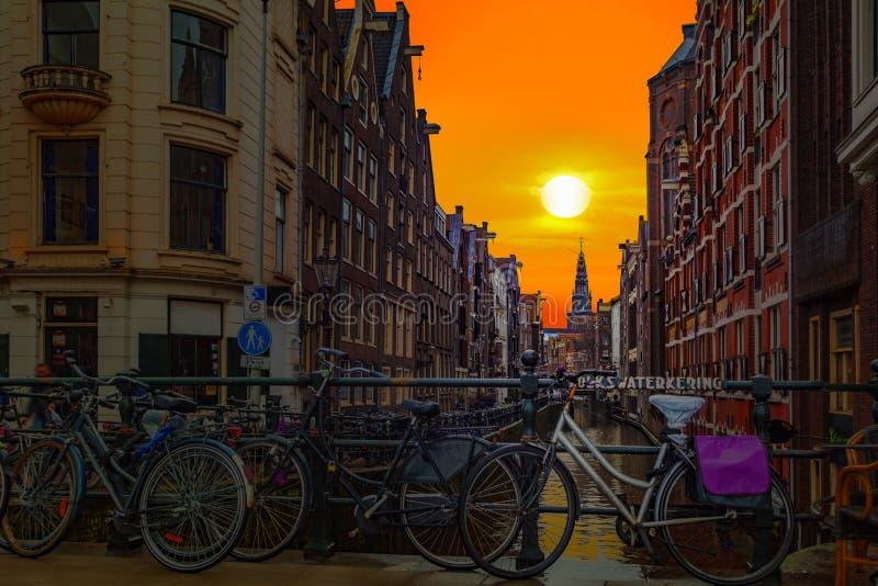 Заход солнца Амстердама стоковая фотография rf