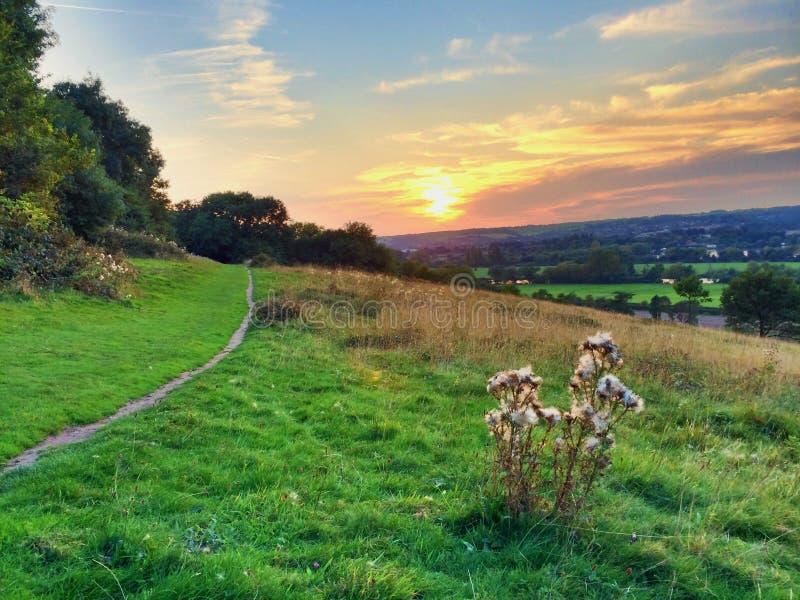 Заход солнца ландшафта осени стоковое изображение rf