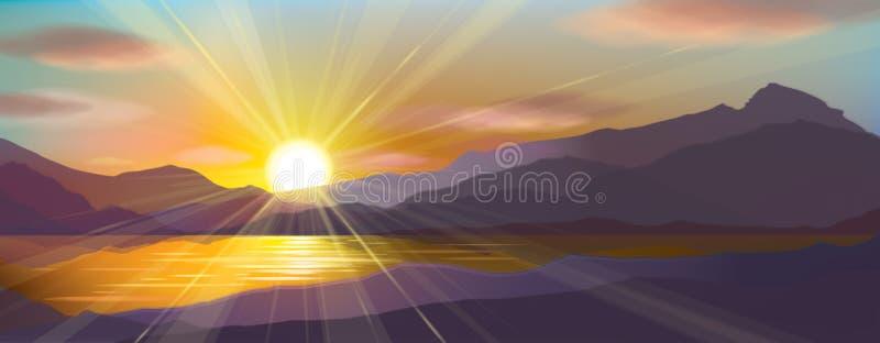 Заход солнца вектора в горах бесплатная иллюстрация