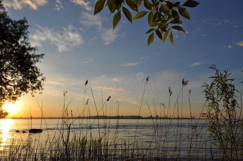 Заход солнца весны над водой стоковые фотографии rf