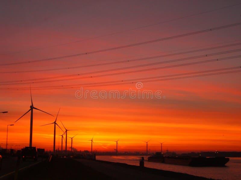 Заход солнца ветротурбины стоковые изображения rf