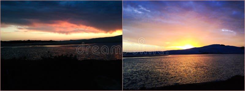 Заход солнца, восход солнца, море, вода стоковое изображение