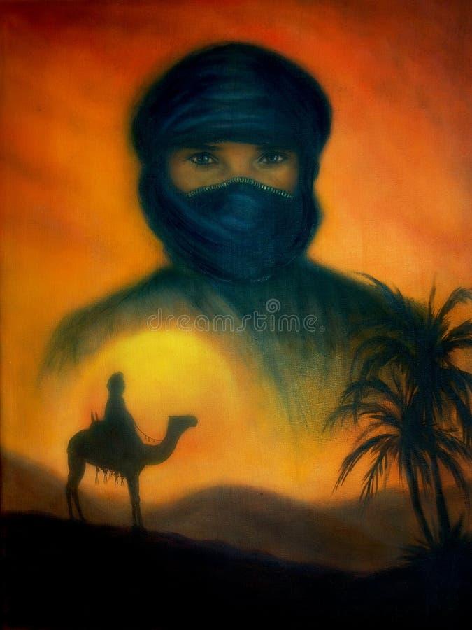 Заход солнца в аравийской пустыне с силуэтом дюн и аравийского человека на верблюде, красивой красочной картине иллюстрация штока