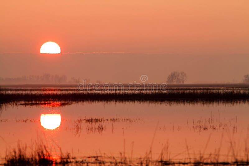 Заход солнца в Венгрии стоковые изображения