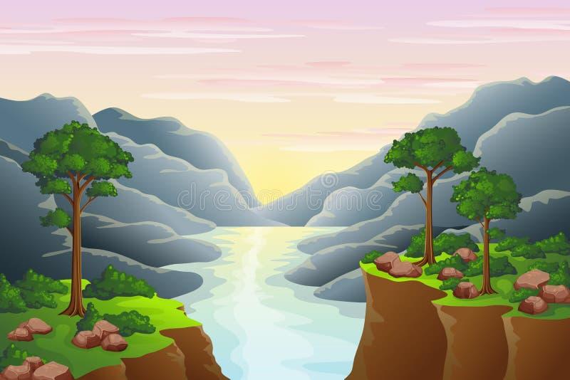 Заход солнца в горах иллюстрация штока