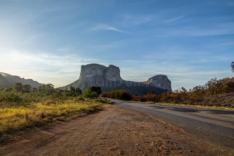 Заход солнца в национальном парке Chapada Diamantina - Бахи, Бразилии стоковая фотография rf
