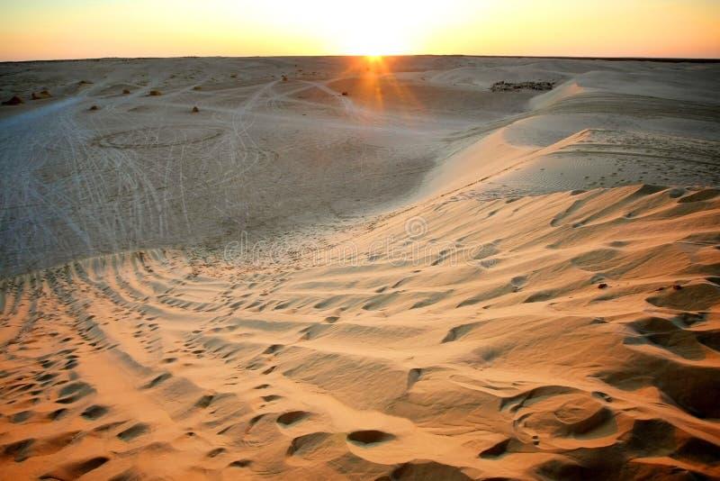 Заход солнца в пустыне Сахары стоковые изображения