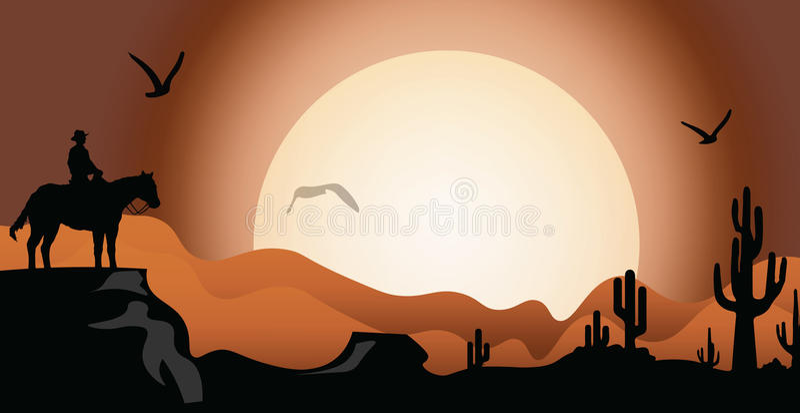 Заход солнца в пустыне иллюстрация штока