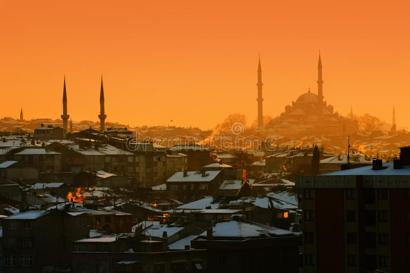 Заход солнца в Стамбуле стоковое фото