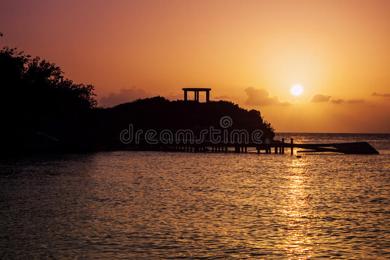 Заход солнца в турках и Caicos стоковая фотография rf