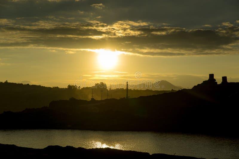Заход солнца в угольной шахте стоковое фото rf