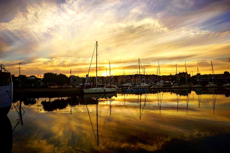 Заход солнца в Швеции! стоковые изображения rf