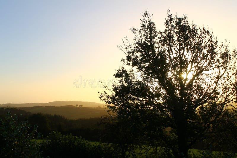 Заход солнца в Dartmoor стоковое изображение