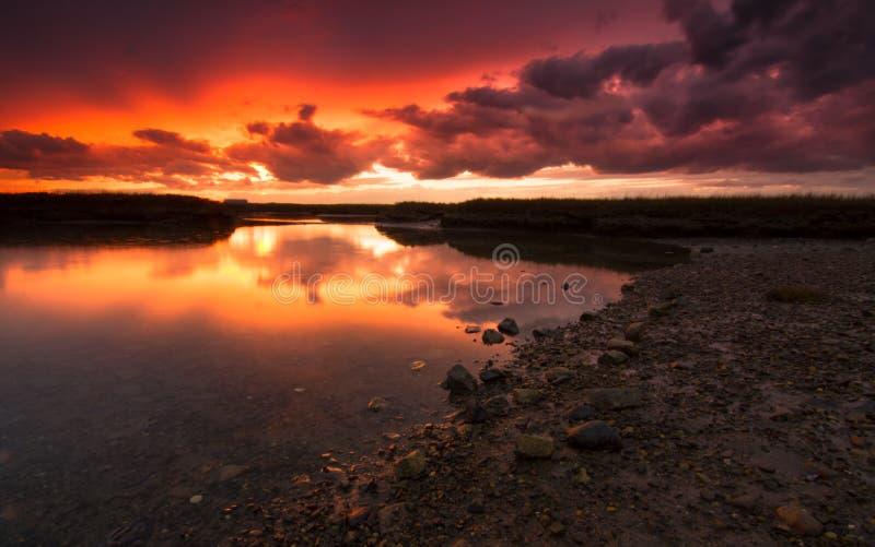 Заход солнца в Hampton, NH стоковое фото rf