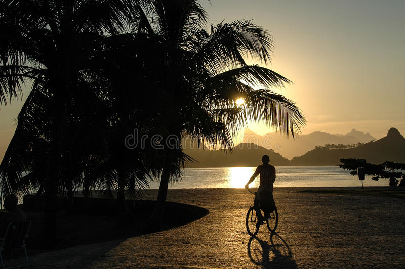 Заход солнца в Niteroi, Рио de Janiero, Бразилии стоковая фотография