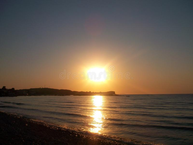 Заход солнца в Roda стоковое изображение